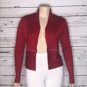 Carmen Marc Valvo NWT Red Zipper Sweater Cardigan